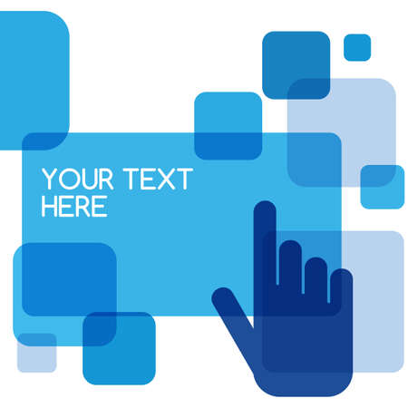 touch technology: Blue flat touch interface background template.