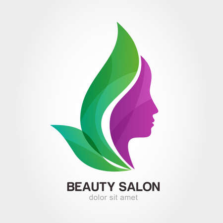 green hair: Womans face in flower leaves. Abstract design concept for beauty salon, massage, cosmetic and spa.