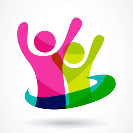 Abstraite colorée gens heureux illustration. Illustration