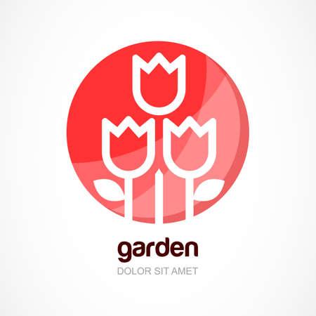 beaut� esthetique: Rouge fleur de tulipe dans le cercle, vecteur logo mod�le. Concept abstrait pour produit naturel bio, cosm�tique, beaut�, boutique de fleurs, jardin.
