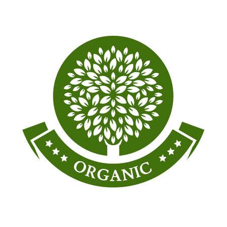 녹색 원 트리. 유기농 제품 배지. 정원 또는 생태 아이콘입니다. 일러스트