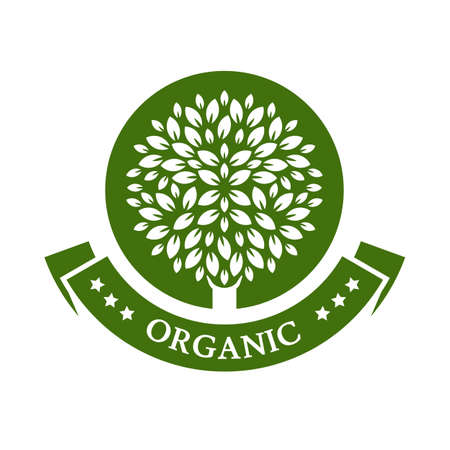 Green circle tree. Organic product badge. Garden or ecology icon.