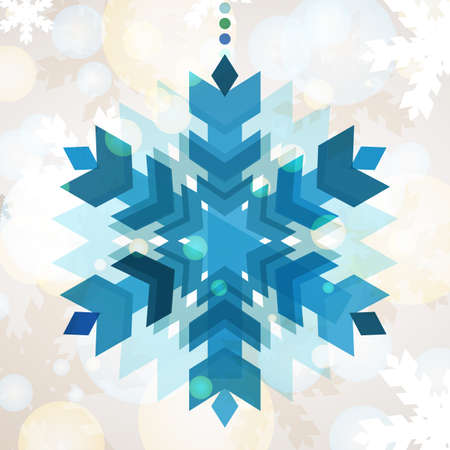 graphic illustration: Abstract colorful snowflake with winter background.