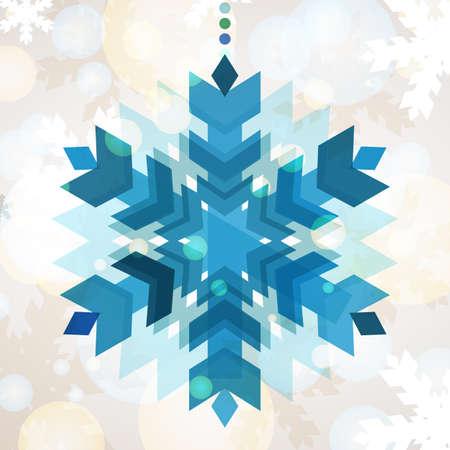 schneeflocke: Abstrakte bunte Schneeflocke mit Winter-Hintergrund. Illustration