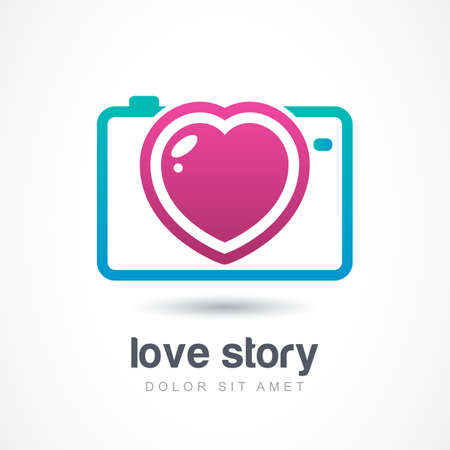 love story: Abstract colorful photo camera with heart lens. Vector logo icon template. Design concept for wedding photographer. Love story photo symbol.