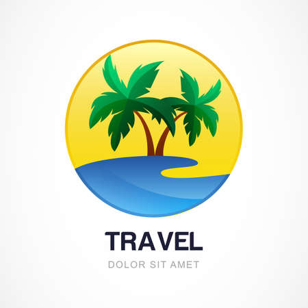 spa resort: Vector logo design template. Green palm on seaside. Concept for travel agency, tropical resort, beach hotel, spa. Summer vacation symbol.