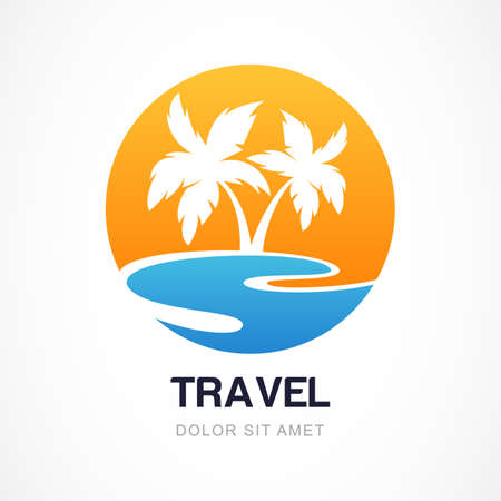 sunset tree: Vector design template. Green palm on seaside. Concept for travel agency, tropical resort, beach hotel, spa. Summer vacation symbol.