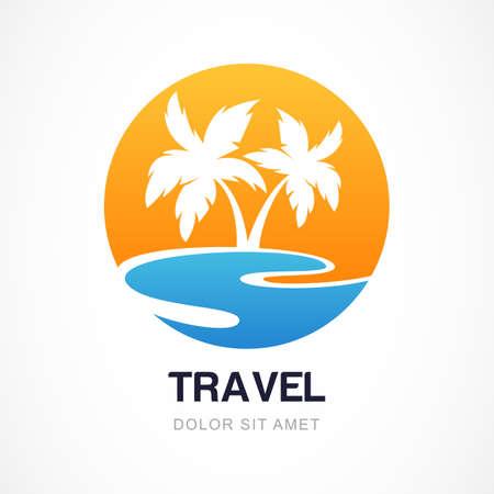 agencia de viajes: Vector plantilla de diseño. Palma verde en orilla del mar. Concepto para la agencia de viajes, centro turístico tropical, hotel de playa, spa. Símbolo de las vacaciones de verano.
