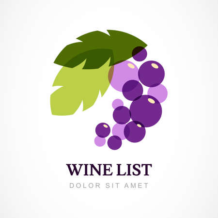 grape: Vector design template. Branch of grape with leaves. Illustration