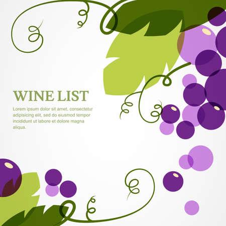 Tak van druiven met bladeren. Abstract vector achtergrond ontwerp sjabloon met plaats voor tekst. Concept voor de wijnkaart, menu, dekking, flyer, brochure, poster. Stock Illustratie