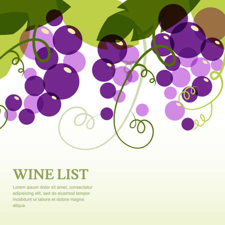 Branch of grape with leaves. Abstract vector background design template with place for text. Concept for wine list, menu, cover, flyer, brochure, poster. Stok Fotoğraf - 34675552