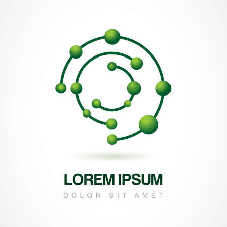 Vector logo design template. Abstract molecular structure symbol. Chemistry and science icon education concept.