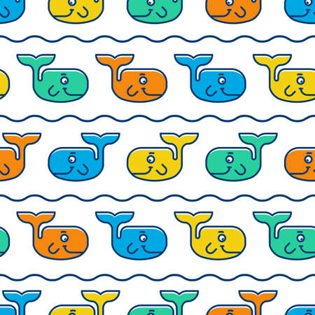 Seamless pattern with colorful smiling whales. Vector illustration background. Illustration
