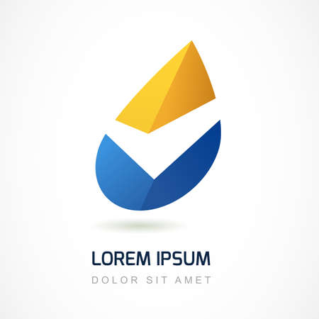 Abstract logo design template. Yellow and blue oil industry drop icon. Business,  technology, nature, ecology symbol. Vector