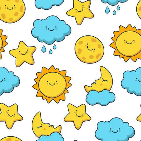 nubes caricatura: Estrella, sol, nubes, luna divertido dibujar. Vector patr�n de dibujos animados sin fisuras. Fondo del d�a. Vectores