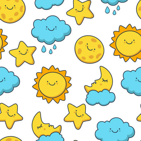 Funny sketching star, sun, cloud, moon. Vector seamless cartoon pattern. Day background. Illustration