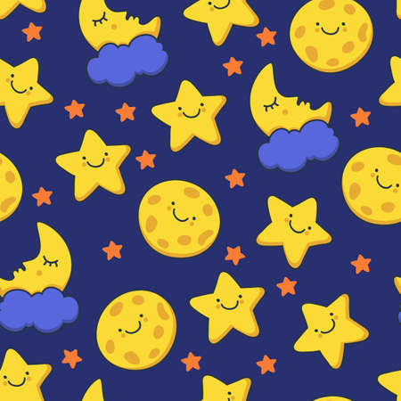 Funny sketching smiling star and sleeping moon. Vector seamless cartoon pattern. Night background. Stock Illustratie