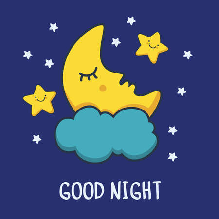 moon night: Funny sketching sleeping moon and smiling stars. Vector cartoon illustration background.
