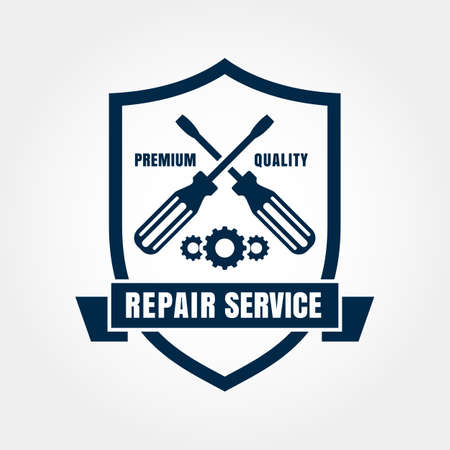Vintage style car repair service shield label. Vector design template. Vector
