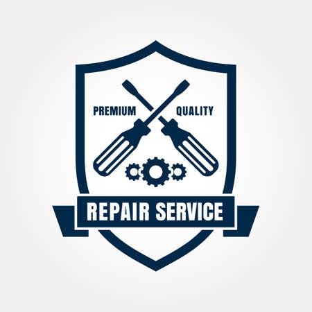 shield: Vintage style car repair service shield label. Vector design template.