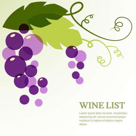 葉とブドウの枝。抽象的なベクトルの背景デザイン テンプレート テキストです。ワインリスト、メニューのカバー、チラシ、パンフレット、ポスタ