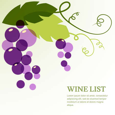 wine vineyards: Branch of grape with leaves. Abstract vector background design template with place for text. Concept for wine list, menu, cover, flyer, brochure, poster.