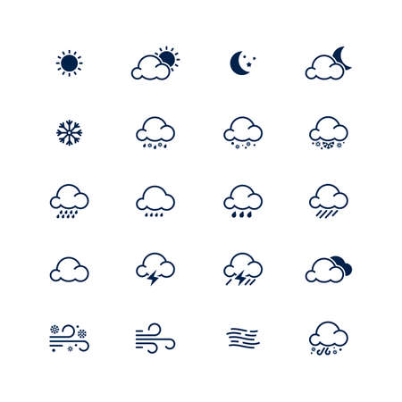 Simple line weather icon set illustration