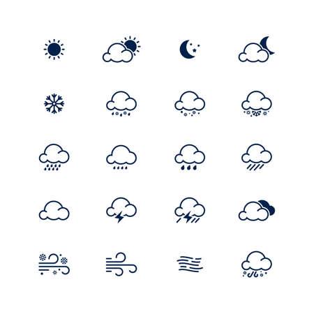 Simple line weather icon set illustration