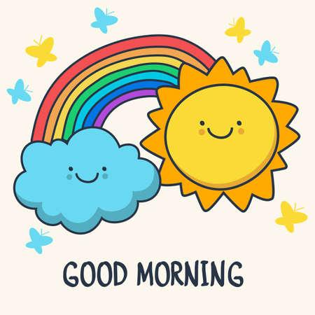 Divertido dibujo sonriente sol, nubes y arco iris de dibujos animados ilustración de fondo.