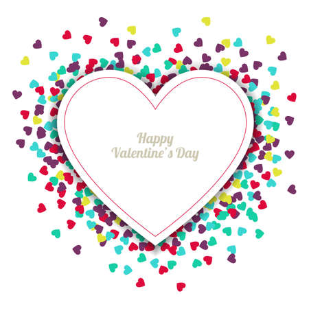 Happy Valentines Day greeting card with hearts background Vector