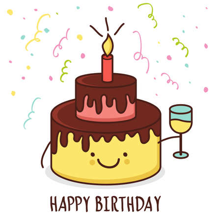 birthday champagne: Cute cartoon smiling cake with glass of champagne. Vector illustration. Happy birthday greeting card.
