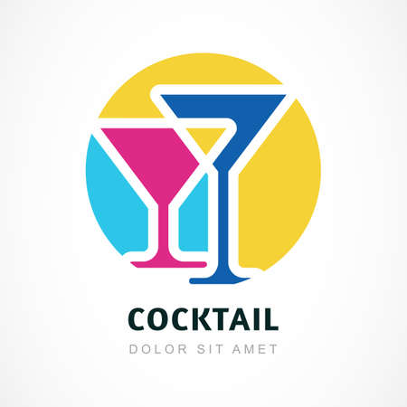 night bar: Abstract logo design template. Colorful cocktail circle icon. Concept for bar menu, party, alcohol drinks, celebration holidays.
