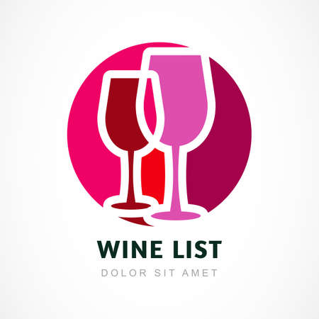 Abstract logo design template. Red wine circle icon. Concept for bar menu, party, alcohol drinks, celebration holidays. Vector