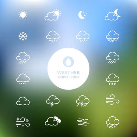 Simple line weather icon set on blurred landscape background. Vector illustration. Ilustracja