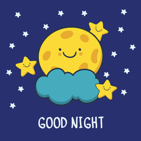 Funny sketching smiling moon and stars. Vector cartoon illustration background. Good night card.