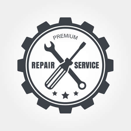metal gears: Vintage style car repair service label. Vector logo design template. Illustration