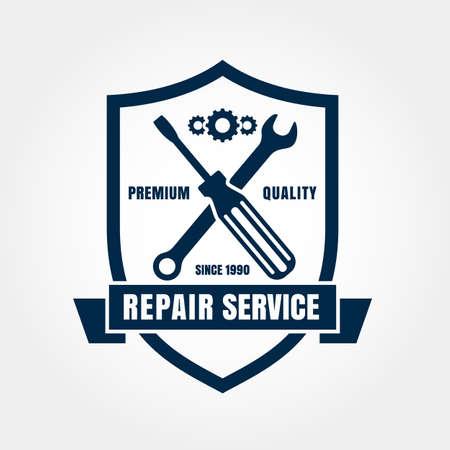 Vintage style car repair service shield label. Vector logo design template. Vector