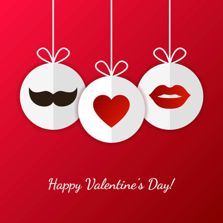 Happy Valentine`s Day greeting card. Womens lips, mens mustache and heart symbol. Vector illustration. Wedding invitation. Vector