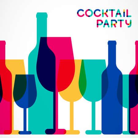 cocteles: Colorido copa de c�ctel abstracta y una botella de vino de fondo sin fisuras. Concepto para el men� de la barra, partido, bebidas alcoh�licas, vacaciones celebraci�n, lista de vinos. Dise�o brillante creativo. Vectores