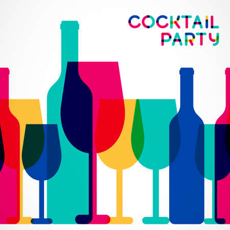 Abstract colorful cocktail glass and wine bottle seamless background. Concept for bar menu, party, alcohol drinks, celebration holidays, wine list. Creative glowing design.