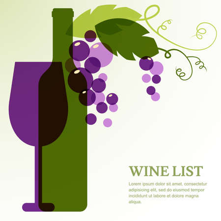 Wine bottle, glass, branch of grape with leaves. Abstract vector background design template with place for text. Concept for wine list, menu, flyer, party, alcohol drinks, celebration holidays. 일러스트