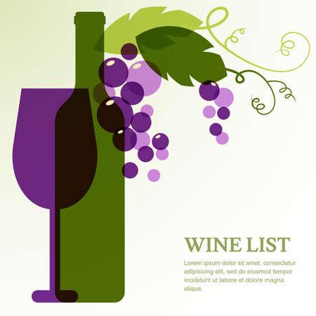 Garrafa de vinho, vidro, ramo da uva com folhas. Modelo de design abstrato do vetor com lugar para o texto. Conceito para a lista de vinhos, menu, flyer, partido, bebidas alcoólicas, celebração feriados.