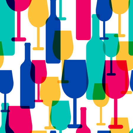 tropical cocktail: Abstract colorful cocktail glass and wine bottle seamless pattern. Concept for bar menu, party, alcohol drinks, celebration holidays, wine list. Creative glowing design.
