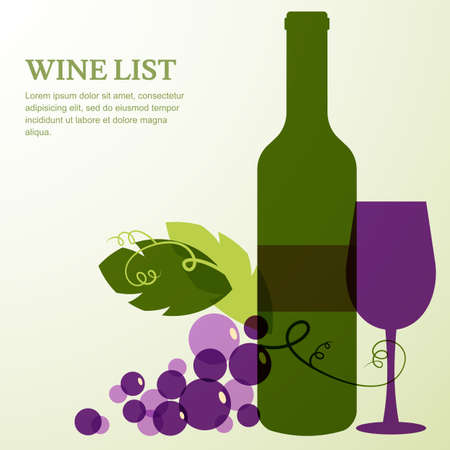 Wine bottle, glass, branch of grape with leaves. Abstract vector background design template with place for text. Concept for wine list, menu, flyer, party, alcohol drinks, celebration holidays. Vector