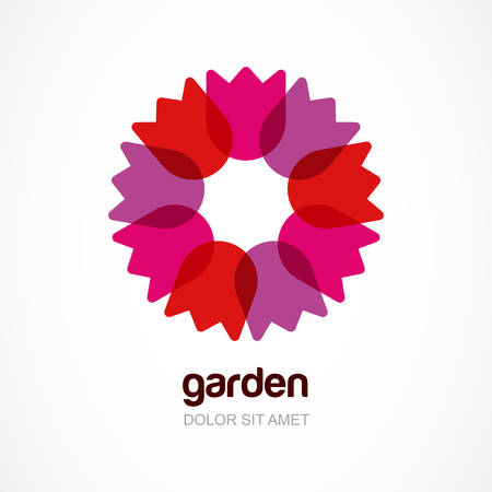Red tulip flower in circle, vector logo template. Abstract design concept for natural organic product, cosmetic, beauty, floral shop, garden.