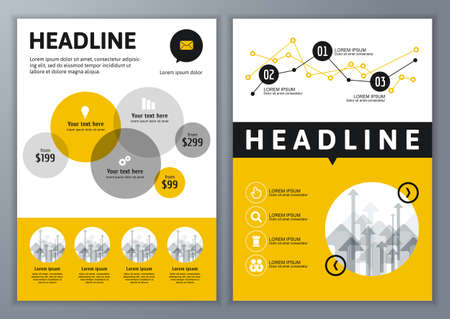 Set van vector sjabloon voor brochure, flyer, poster, applicatie en online service. Kleurrijke cirkels vector achtergrond. Stock Illustratie