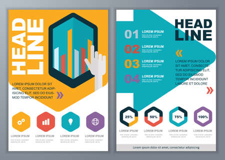 Set of vector template for brochure, flyer, poster, application and online service.  Colorful flat touch interface, graph and diagram background. Vector