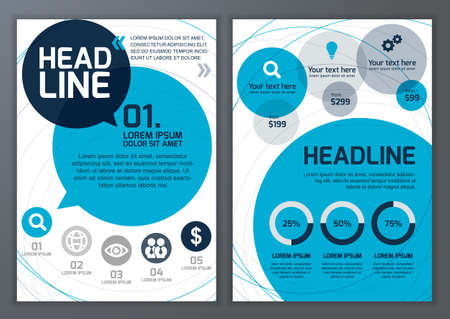 web site design template: Set of vector template for brochure, flyer, poster, application and online service.  Colorful circles vector background.