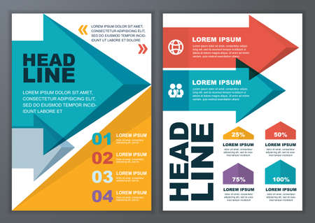 e magazine: Set of vector geometric template for brochure, flyer, poster, application and online service. Colorful polygonal and arrows vector background. Illustration