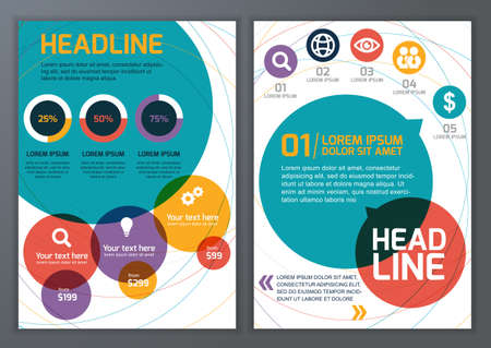 page layout: Set of vector template for brochure, flyer, poster, application and online service.  Colorful circles vector background.